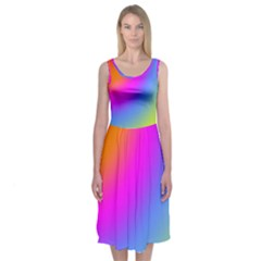 Radial Gradients Red Orange Pink Blue Green Midi Sleeveless Dress
