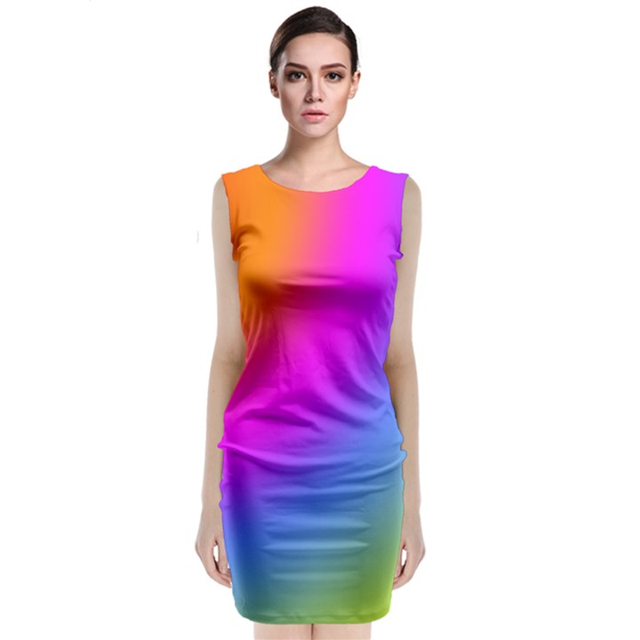Radial Gradients Red Orange Pink Blue Green Classic Sleeveless Midi Dress