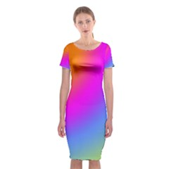 Radial Gradients Red Orange Pink Blue Green Classic Short Sleeve Midi Dress