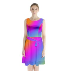 Radial Gradients Red Orange Pink Blue Green Sleeveless Chiffon Waist Tie Dress