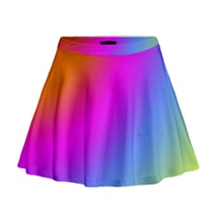 Radial Gradients Red Orange Pink Blue Green Mini Flare Skirt