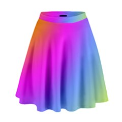 Radial Gradients Red Orange Pink Blue Green High Waist Skirt