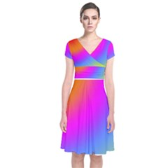 Radial Gradients Red Orange Pink Blue Green Short Sleeve Front Wrap Dress