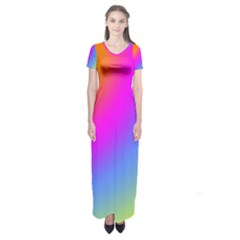 Radial Gradients Red Orange Pink Blue Green Short Sleeve Maxi Dress