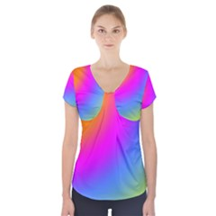Radial Gradients Red Orange Pink Blue Green Short Sleeve Front Detail Top
