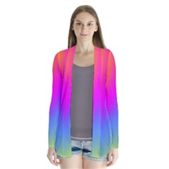 Radial Gradients Red Orange Pink Blue Green Drape Collar Cardigan