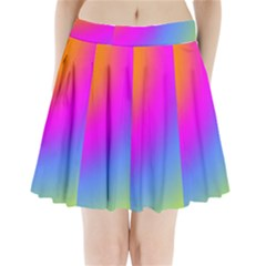 Radial Gradients Red Orange Pink Blue Green Pleated Mini Skirt