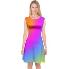 Radial Gradients Red Orange Pink Blue Green Capsleeve Midi Dress