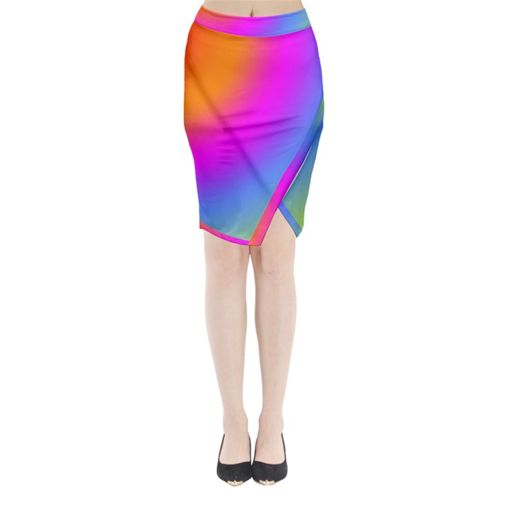 Radial Gradients Red Orange Pink Blue Green Midi Wrap Pencil Skirt