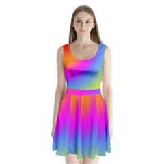 Radial Gradients Red Orange Pink Blue Green Split Back Mini Dress