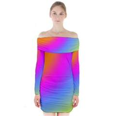Radial Gradients Red Orange Pink Blue Green Long Sleeve Off Shoulder Dress