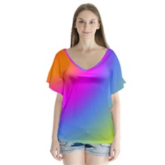 Radial Gradients Red Orange Pink Blue Green Flutter Sleeve Top