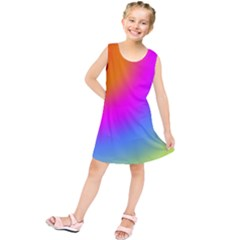 Radial Gradients Red Orange Pink Blue Green Kids  Tunic Dress