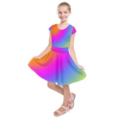 Radial Gradients Red Orange Pink Blue Green Kids  Short Sleeve Dress