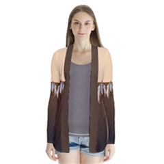 Arrowhead And Feathers Drape Collar Cardigan