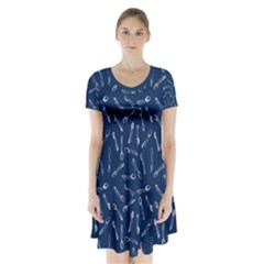 Spoonie Strong Print In Marine Blue Short Sleeve V Neck Flare Dress