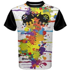 Crazy Multicolored Double Running Splashes Men s Cotton Tee
