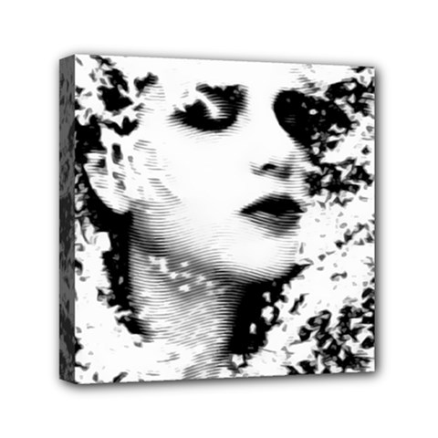 Romantic Dreaming Girl Grunge Black White Mini Canvas 6  X 6