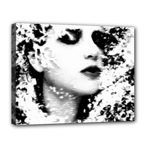 Romantic Dreaming Girl Grunge Black White Canvas 14  X 11