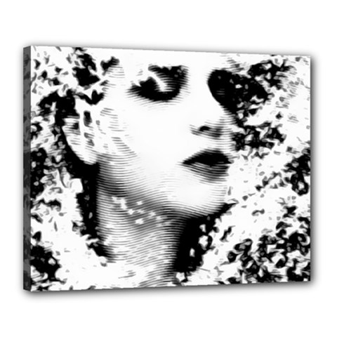 Romantic Dreaming Girl Grunge Black White Canvas 20  X 16