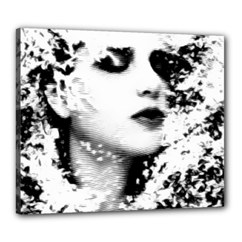 Romantic Dreaming Girl Grunge Black White Canvas 24  X 20