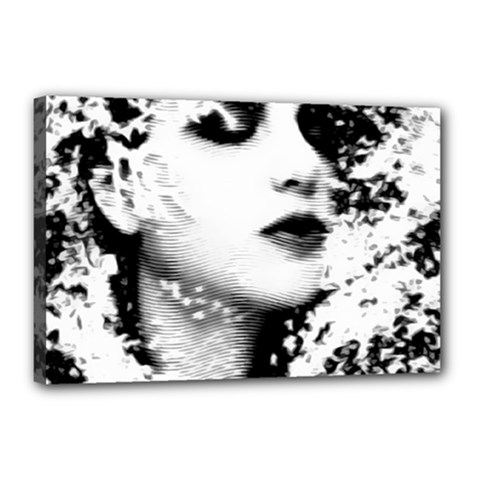 Romantic Dreaming Girl Grunge Black White Canvas 18  X 12