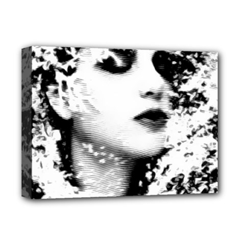 Romantic Dreaming Girl Grunge Black White Deluxe Canvas 16  X 12