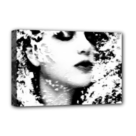 Romantic Dreaming Girl Grunge Black White Deluxe Canvas 18  X 12