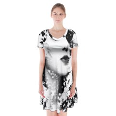 Romantic Dreaming Girl Grunge Black White Short Sleeve V Neck Flare Dress