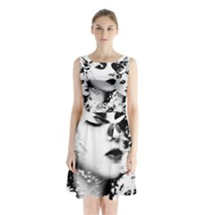 Romantic Dreaming Girl Grunge Black White Sleeveless Chiffon Waist Tie Dress