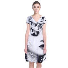 Romantic Dreaming Girl Grunge Black White Short Sleeve Front Wrap Dress