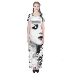 Romantic Dreaming Girl Grunge Black White Short Sleeve Maxi Dress