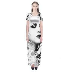 Romantic Dreaming Girl Grunge Black White Short Sleeve Maxi Dress