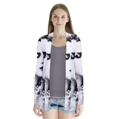 Romantic Dreaming Girl Grunge Black White Drape Collar Cardigan