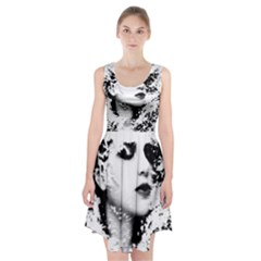 Romantic Dreaming Girl Grunge Black White Racerback Midi Dress