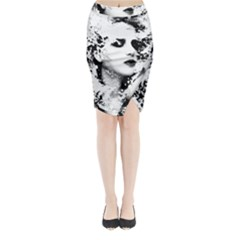 Romantic Dreaming Girl Grunge Black White Midi Wrap Pencil Skirt
