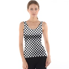 Sports Racing Chess Squares Black White Tank Top