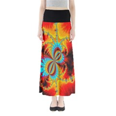 Crazy Mandelbrot Fractal Red Yellow Turquoise Women s Maxi Skirt