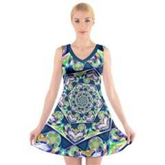 Power Spiral Polygon Blue Green White V-Neck Sleeveless Dress
