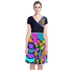 Abstract Sketch Art Squiggly Loops Multicolored Short Sleeve Front Wrap Dress
