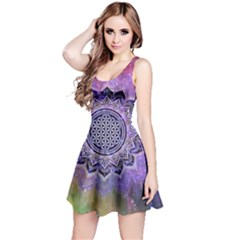 Flower Of Life Indian Ornaments Mandala Universe Reversible Sleeveless Dress