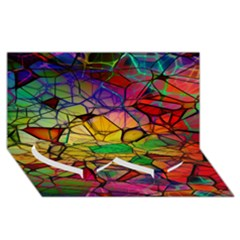 Abstract Squares Triangle Polygon Twin Heart Bottom 3d Greeting Card (8x4)