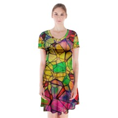Abstract Squares Triangle Polygon Short Sleeve V-neck Flare Dress