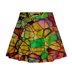 Abstract Squares Triangle Polygon Mini Flare Skirt