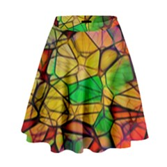 Abstract Squares Triangle Polygon High Waist Skirt