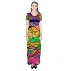 Abstract Squares Triangle Polygon Short Sleeve Maxi Dress