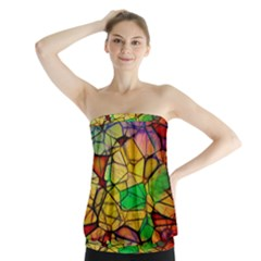 Abstract Squares Triangle Polygon Strapless Top