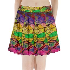 Abstract Squares Triangle Polygon Pleated Mini Skirt