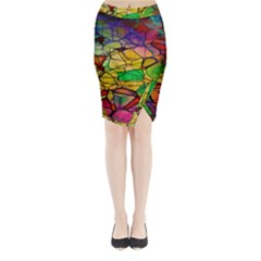 Abstract Squares Triangle Polygon Midi Wrap Pencil Skirt