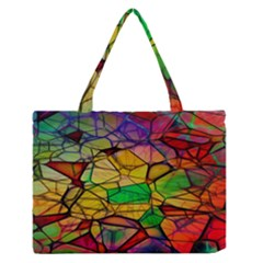 Abstract Squares Triangle Polygon Medium Zipper Tote Bag